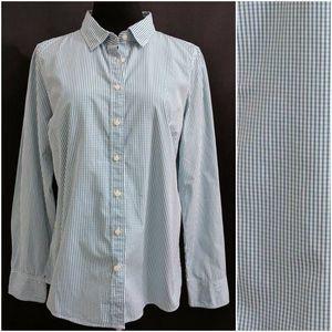 J CREW Haberdashery Green Shirt Top Blouse L